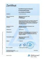 TÜV Zertifikat 2014-68-EU