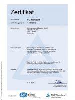 TÜV-Zertifikat ISO 9001-2015 DE
